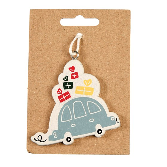 CHRISTMAS CAR WOODEN TREE DECORATION