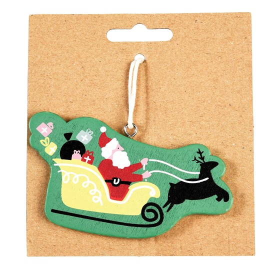 santa sleigh wooden decoration