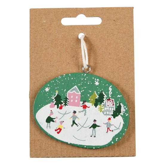 SNOW GLOBE WOODEN DECORATION