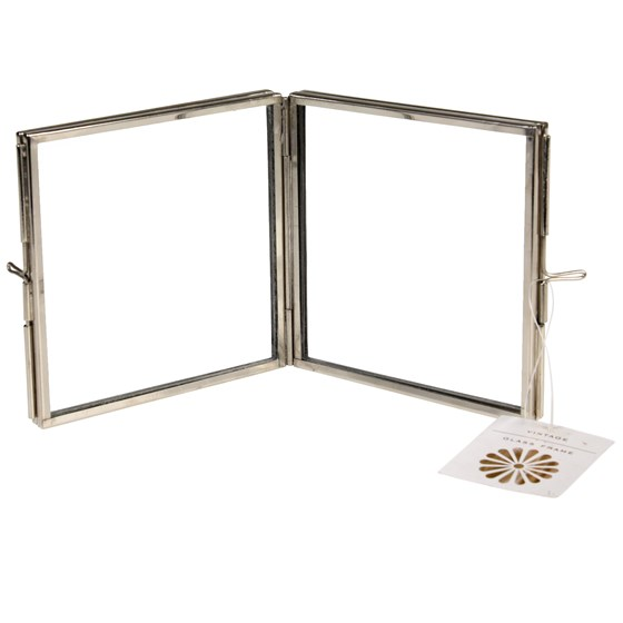 brass 4 sided square photo frame in silver