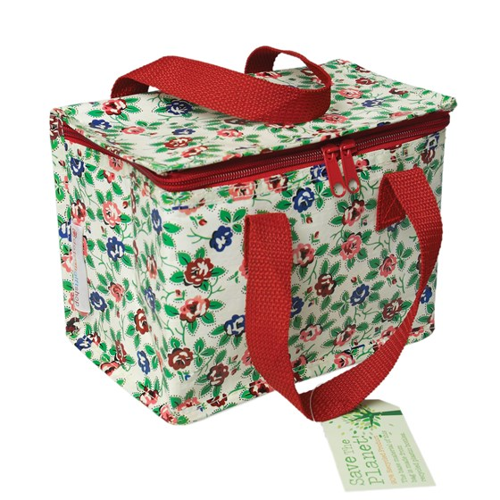 rambling rose design lunch bag