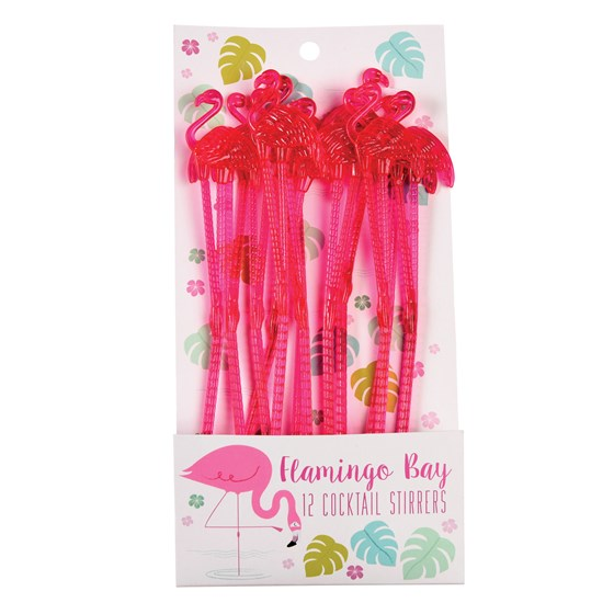 FLAMINGO COCKTAIL STIRRERS (PACK OF 12)