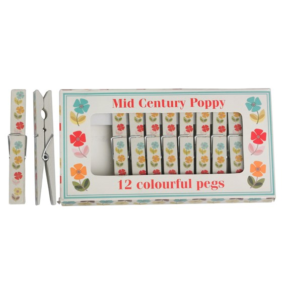 set of 12 mid century poppy clothes pegs