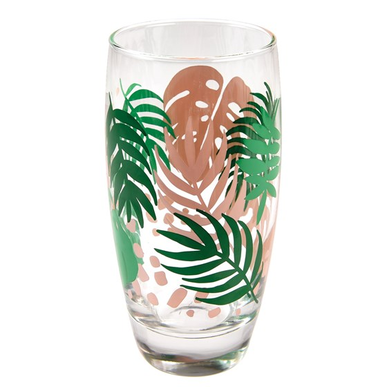tropical palm drinking glass