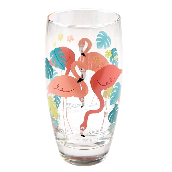 flamingo bay drinking glass
