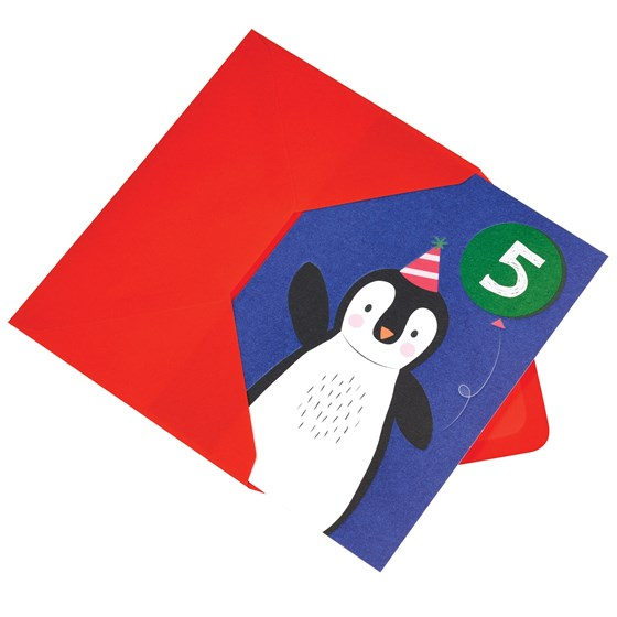 penguin 5th birthday card