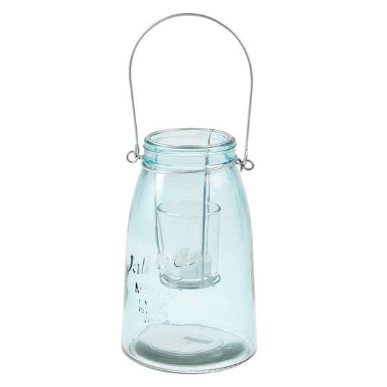 mason jar t light holder blue