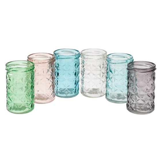 assorted coloured glass tealight holders