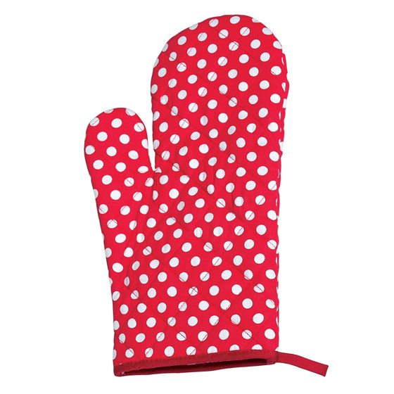 red retrospot oven glove