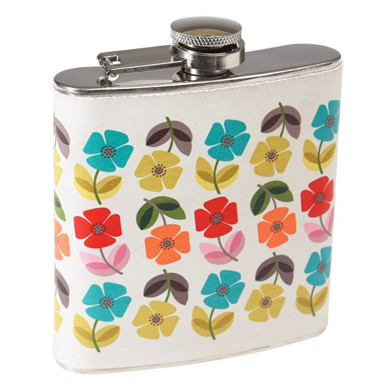 mid century poppy stainless hip flask