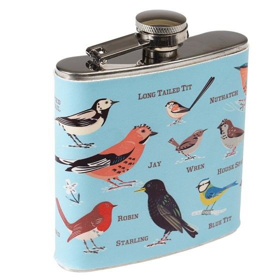 GARDEN BIRDS STAINLESS HIP FLASK