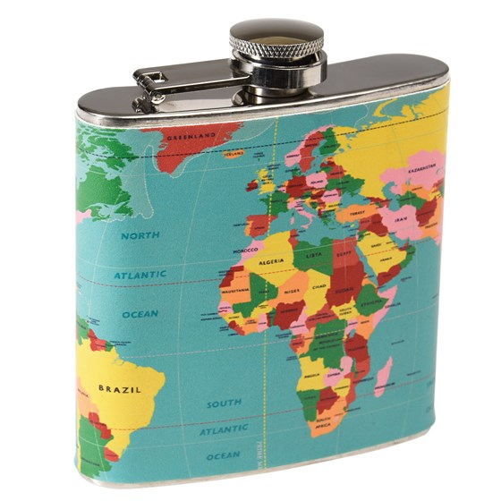 WORLD MAP STAINLESS HIP FLASK