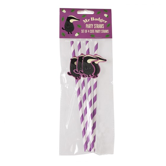 PACK OF 4 BADGER PAPER PARTY STRAWS