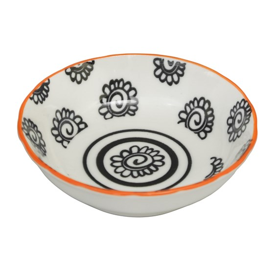 japanese dipping bowl black flowers