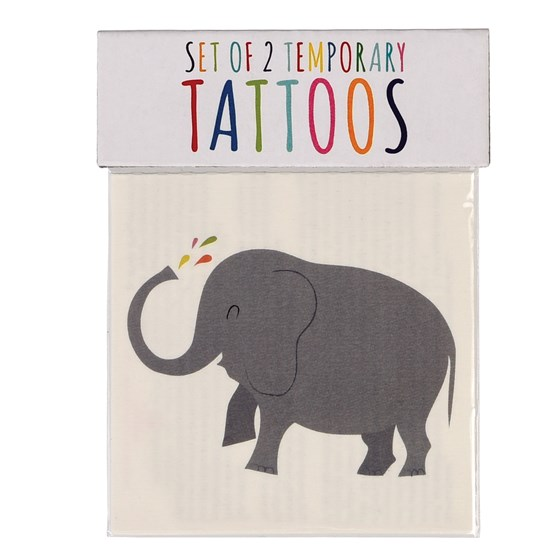 set of two tattoos elephant and whale