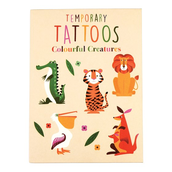 colourful creatures temporary tattoos (2 sheets)