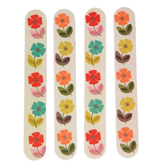 set of 4 nail files mid century poppy design