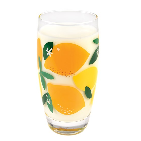 summer lemons drinking glass