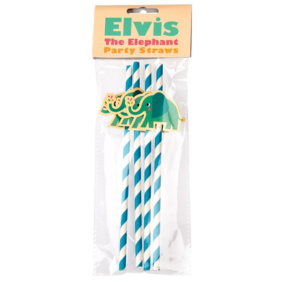 ELVIS THE ELEPHANT PARTY STRAWS (PACK OF 4)