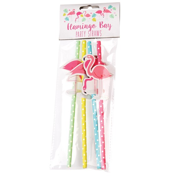 FLAMINGO BAY PARTY STRAWS (PACK OF 4)
