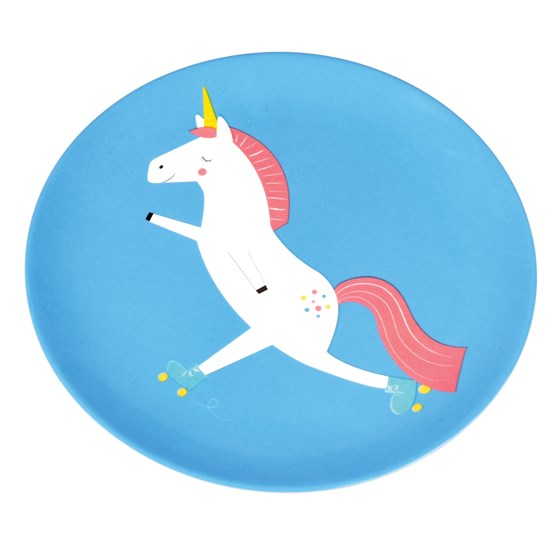 magical unicorn melamine plate
