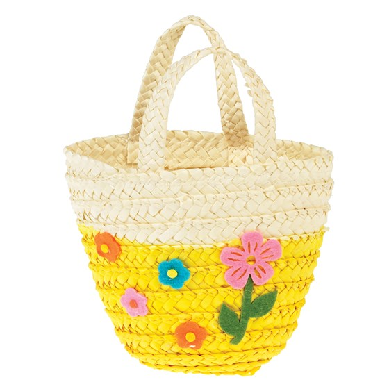 YELLOW WOVEN FLOWER BASKET