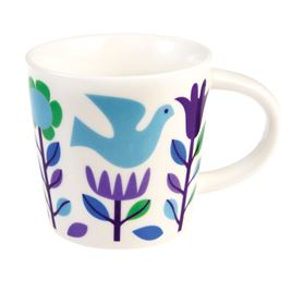 folk doves porcelain mug