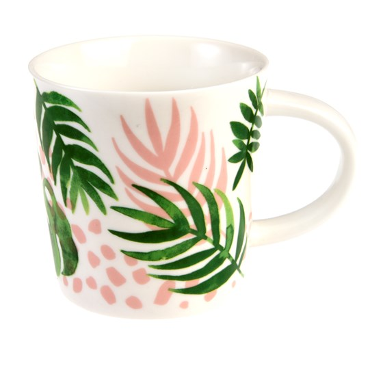 mug café en porcelaine tropical palm
