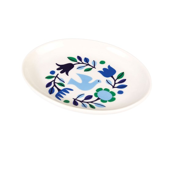 folk doves oval trinket tray