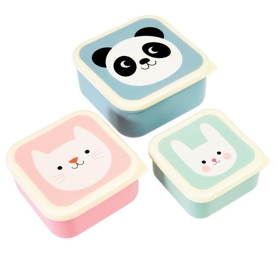 panda, cat and rabbit snack boxes (set of 3)