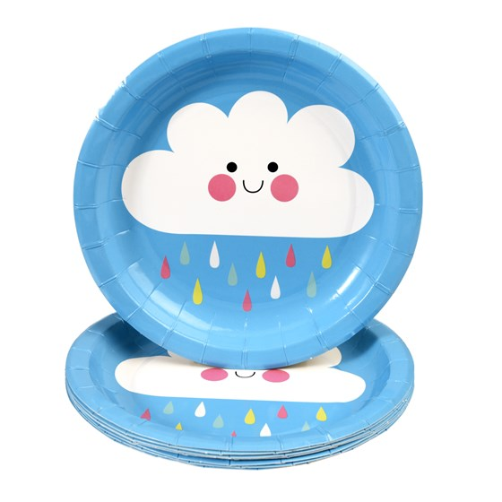 8 assiettes en carton jetable happy cloud