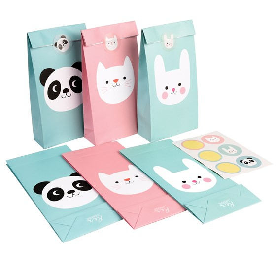 panda, bunny and cat party bags (set of 6)