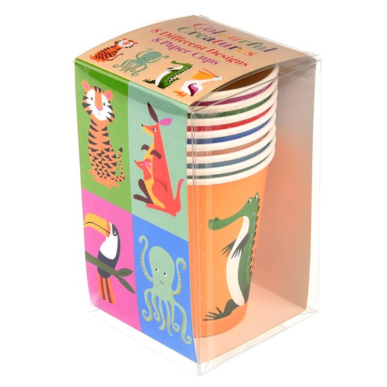 SET 8 PAPER CUP COLOURFUL CREATURES