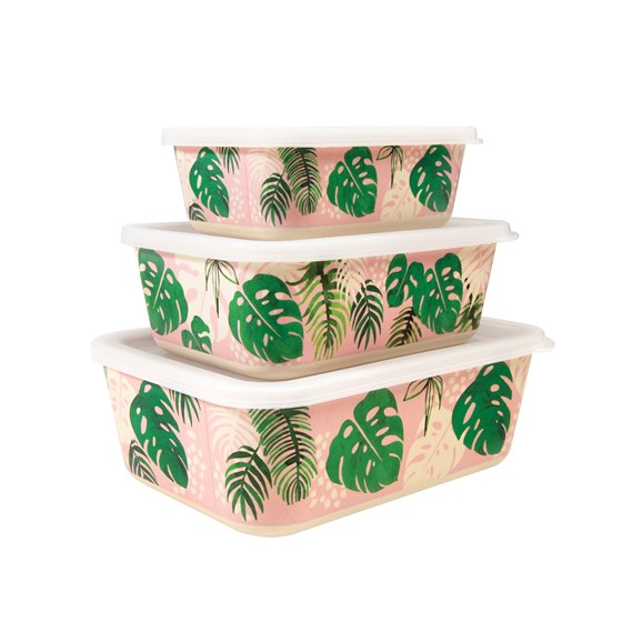 tropical palm bamboo boxes (set of 3)