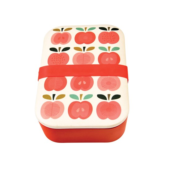 vintage apple bamboo lunch box