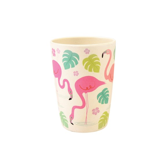 tumbler réutilisable en bambou flamingo bay
