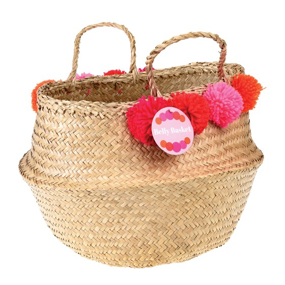 pinks and reds pom pom belly basket