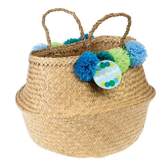 greens and blues pom pom belly basket