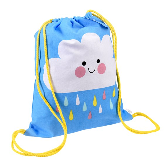 happy cloud drawstring bag