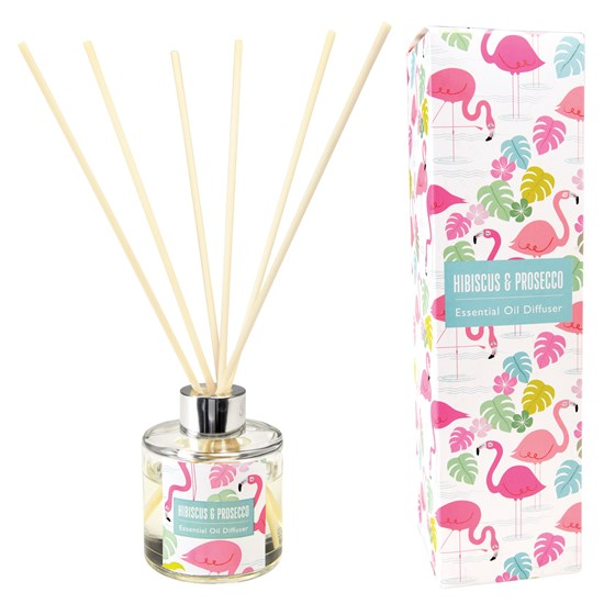 FLAMINGO BAY REED DIFFUSER, HIBISCUS AND PROSECCO SCENT.