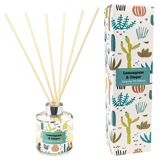 desert in bloom reed diffuser, lemongrass and ginger scent.