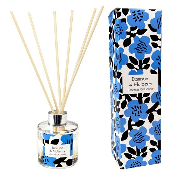 astrid flower reed diffuser, damson and mulberry scent.