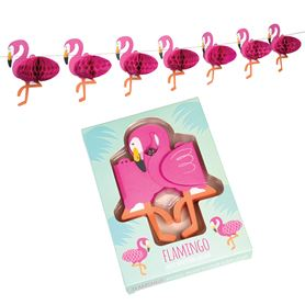 papiergarlande mini flamingos