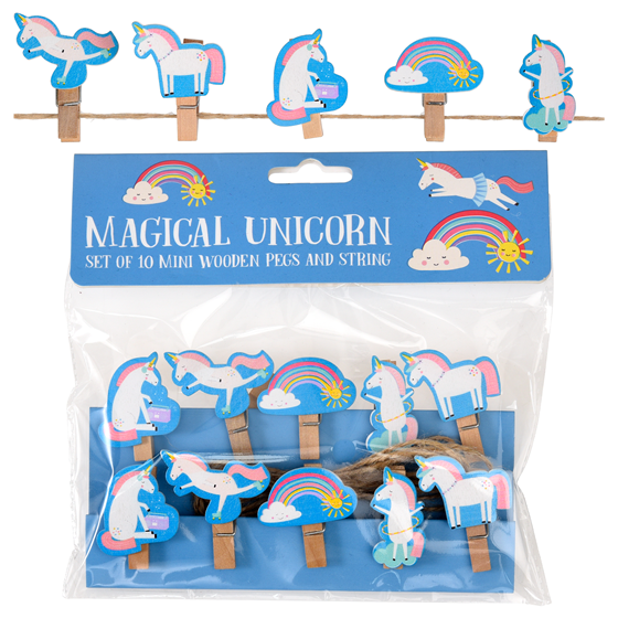 MAGICAL UNICORN WOODEN PEGS (STRING OF 10)