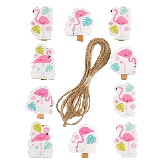 flamingo bay wooden pegs (string of 10)