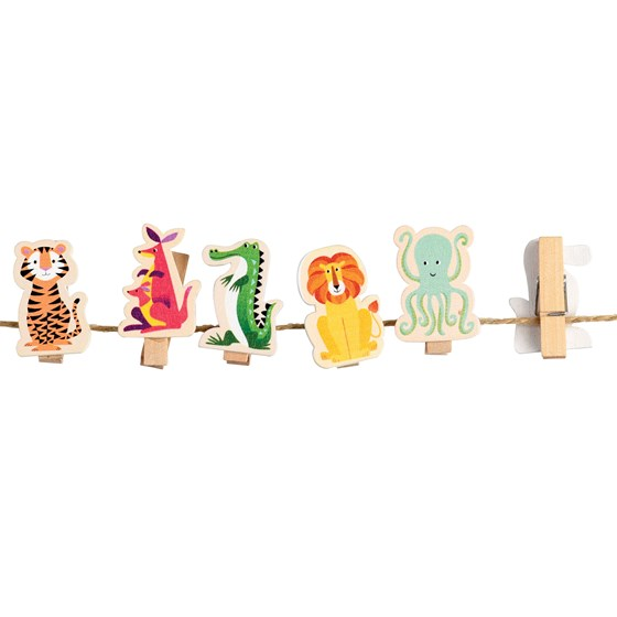 colourful creatures wooden pegs (string of 10)