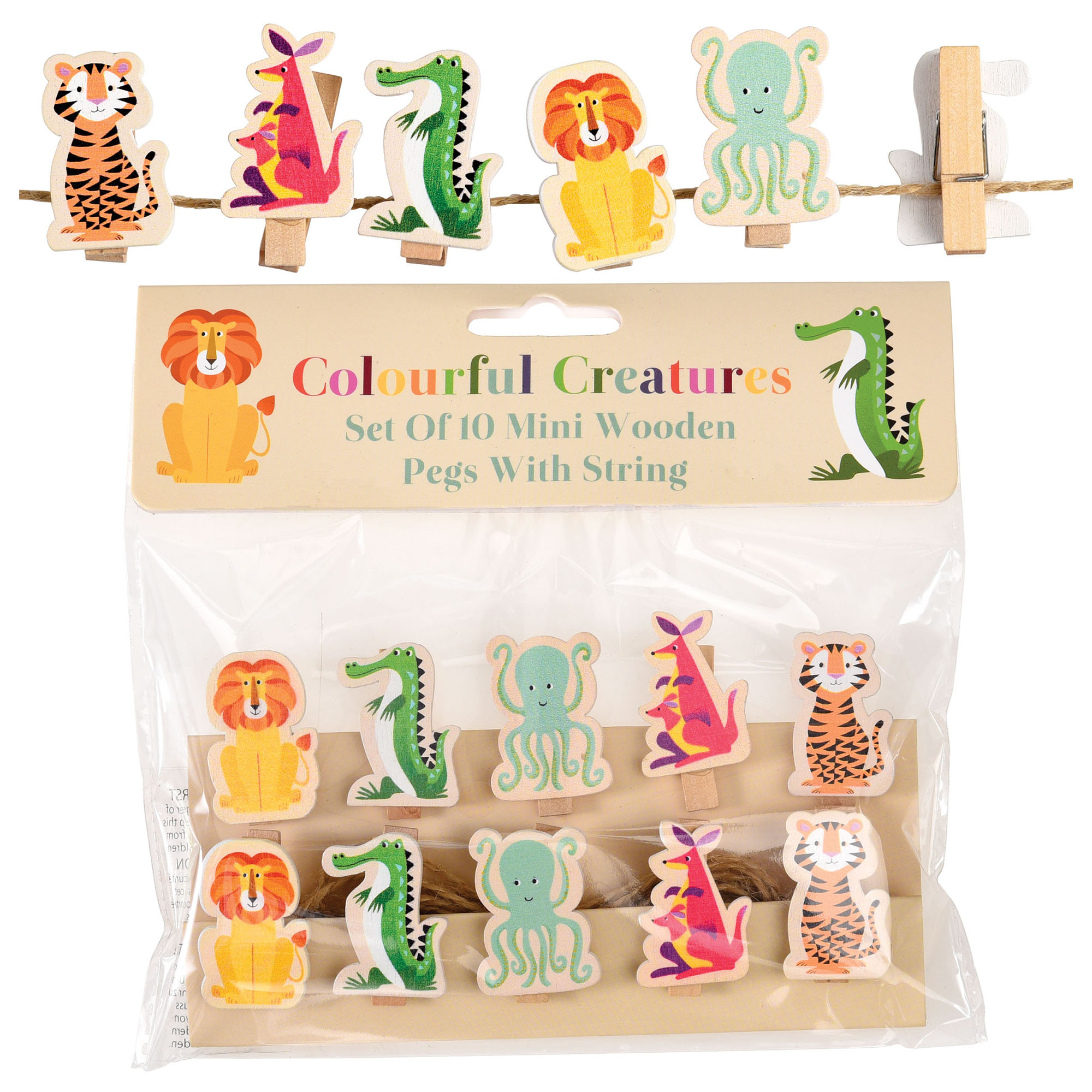 Colourful Creatures Wooden Pegs String Of 10 Rex London Trade