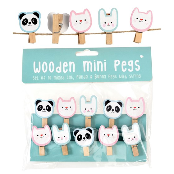 cat, panda and bunny wooden peg and string set