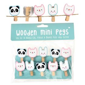miko and friends wooden pegs (string of 10)