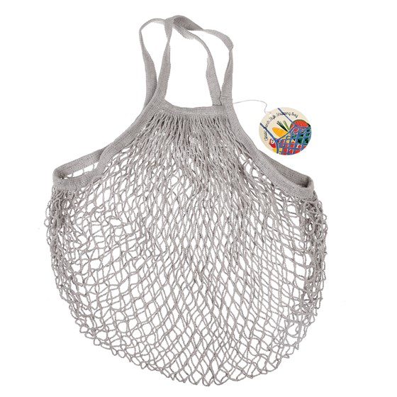 grey french style string shopping bag
